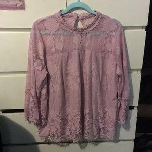 New York & Company Pink lace detail blouse